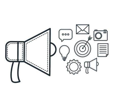 Hand getekende megafoon en objecten op een witte achtergrond. Vector illustratie. Stock Illustratie