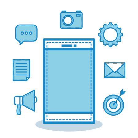 Hand getekend blauwe smartphone en objecten op witte achtergrond. Vector illustratie.