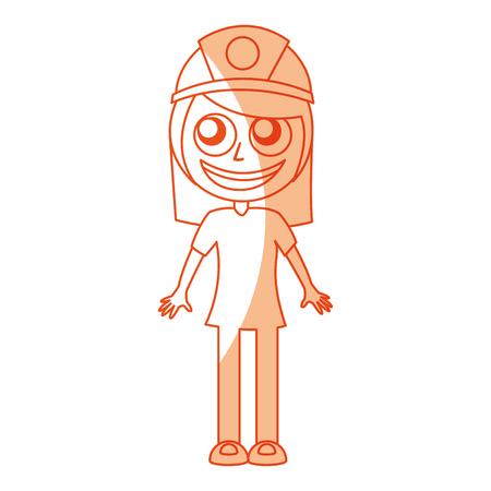 female miner avatar character vector illustration design