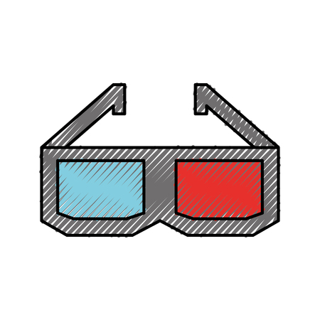movie theater: glasses 3d isolated icon vector illustration design