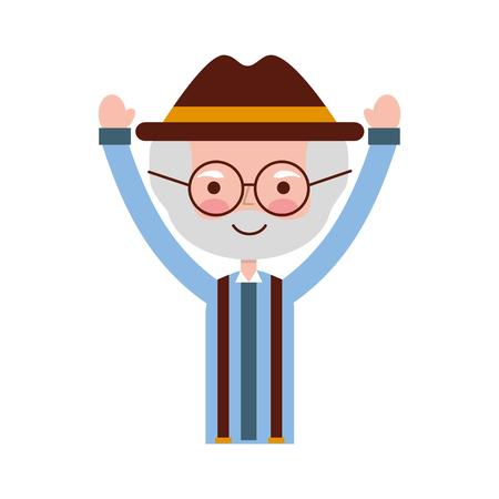 lindo abuelo avatar carácter ilustración vectorial diseño