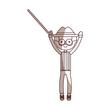 cute grandfather with cane avatar character vector illustration design Illustration