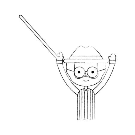 Lindo abuelo con el bastón avatar carácter ilustración vectorial diseño