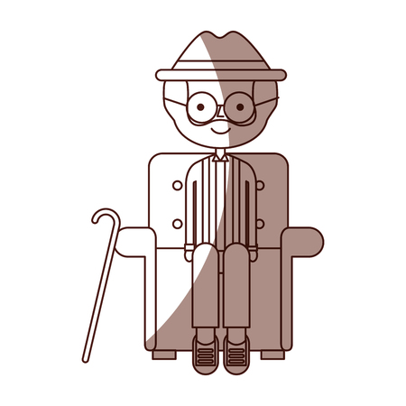 cute grandfather in the sofa avatar character vector illustration design Illustration