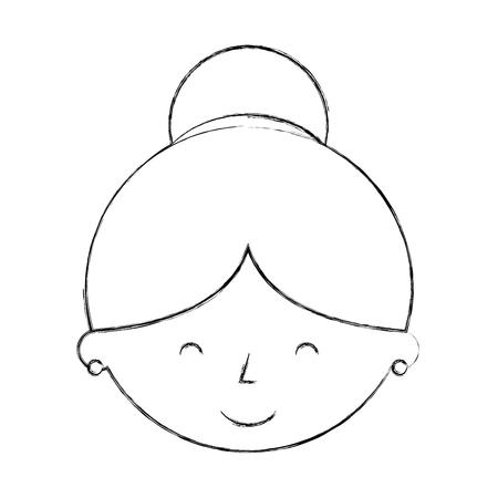 cute grandmother head avatar character vector illustration design Çizim