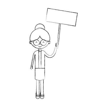 cute grandmother with protest label avatar character vector illustration design