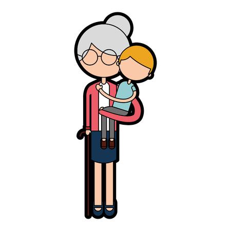 손자 아바타 문자 벡터 일러스트 디자인을 가진 귀여운 할머니