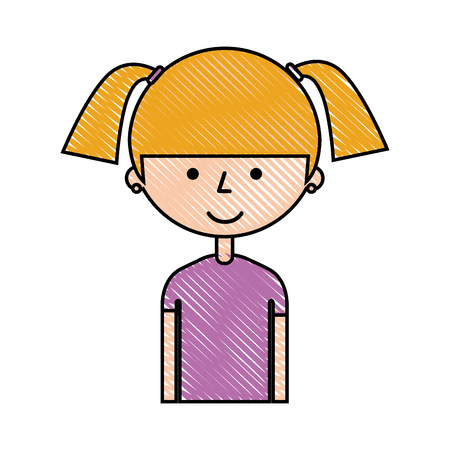 young girl avatar character vector illustration design