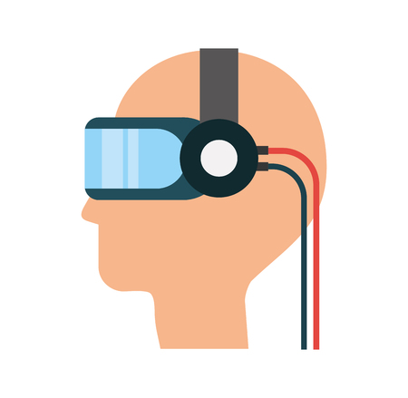 eyewear: gamer with virtual reality glasses vector illustration design