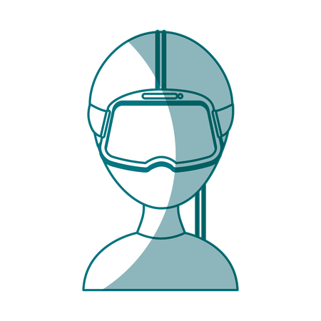 gamer with virtual reality glasses vector illustration design