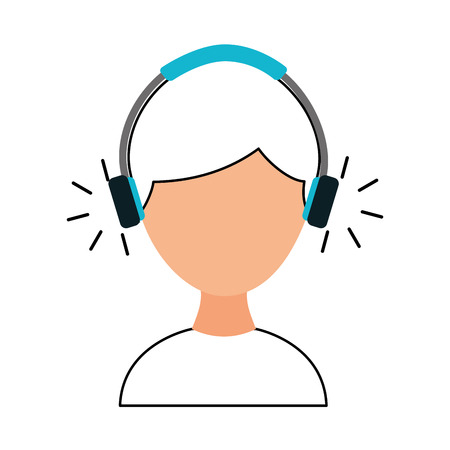 young man with earphone vector illustration design