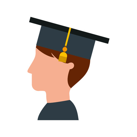Tudiant diplômé isolé icône illustration d'illustration vectorielle Banque d'images - 78823497