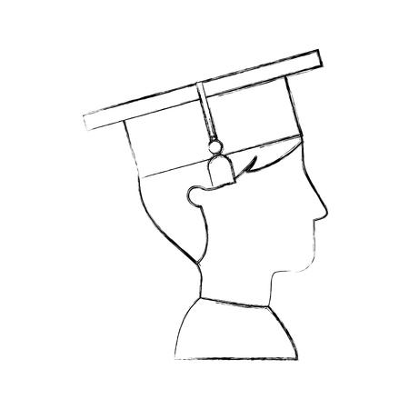Tudiant diplômé isolé icône illustration d'illustration vectorielle Banque d'images - 78846150