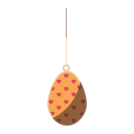 easter egg hanging icon over white background. colorful design. vector illustration