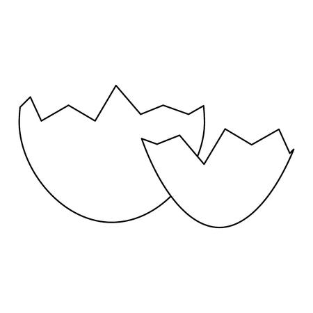 白い背景上の卵殻アイコン。ベクトル図  イラスト・ベクター素材