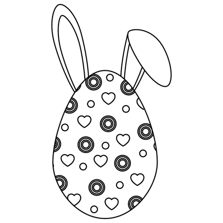 easter egg with rabbit ears icon over white background. vector illustration