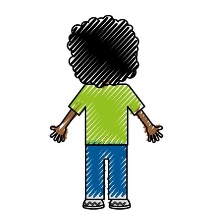 back black child character vector illustration design