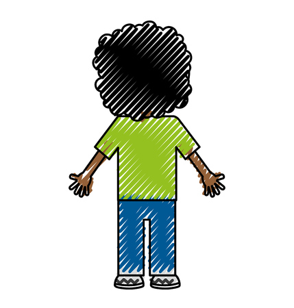back black child character vector illustration design