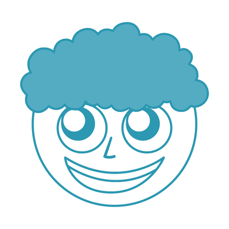Curly haired boy character vector illustration design