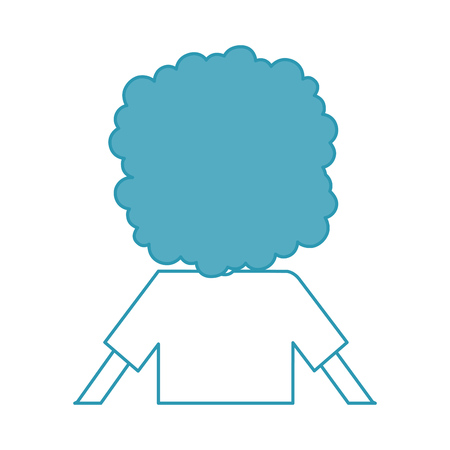 back Curly haired boy character vector illustration design