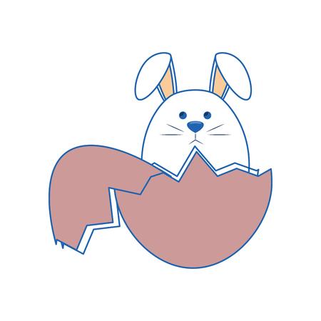 白い背景上のイースター バニー アイコンと卵殻。カラフルなデザイン。ベクトル図