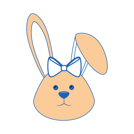 Cute Easter bunny with bow tie icon over white background. colorful design. vector illustration Illustration