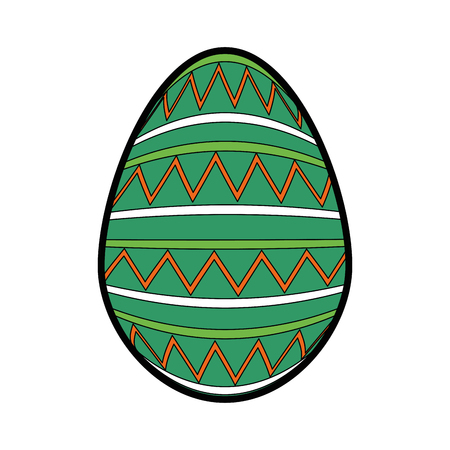 striped easter egg icon over white background.  colorful design. vector illustration