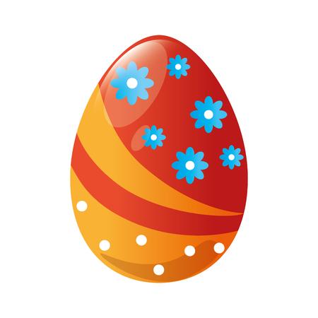 흰색 배경 위에 다채로운 부활절 달걀 아이콘입니다. 벡터 일러스트 레이 션