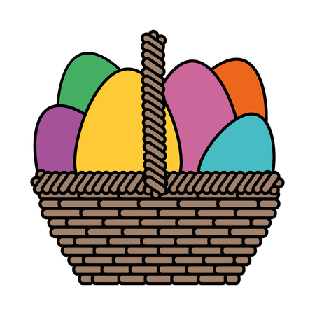 basket with easter eggs icon over white background. colorful design. vector illustration Illustration