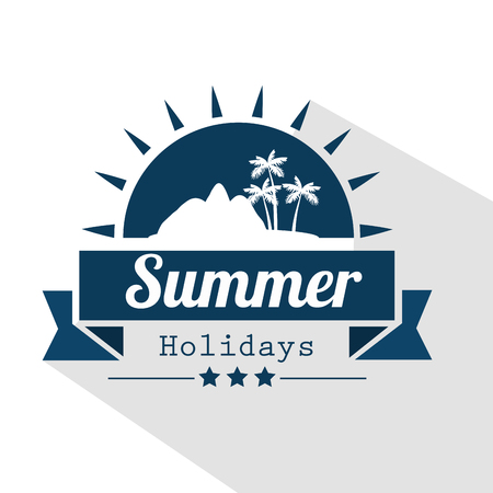 Blue summer holidays sign with sun, island silhouette and ribbon over white background. Vector illustration.