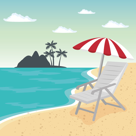 Chair and umbrella over beach background. Vector illustration.