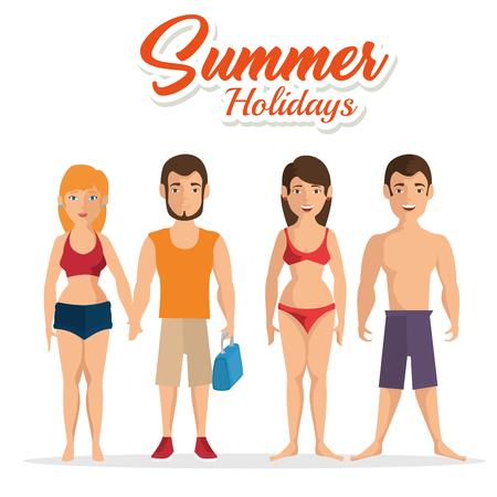 Las parejas en traje de baño con vacaciones de verano firman sobre el fondo blanco. Ilustración vectorial Foto de archivo - 78846618