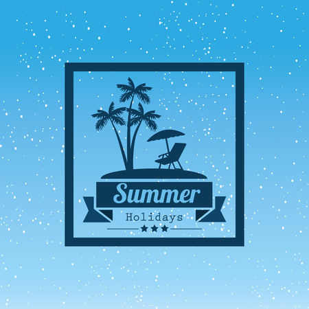 Summer holidays label with island silhouette over blue background. Vector illustration.