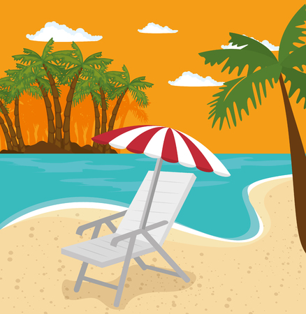 Chair and umbrella with beach landscape background and palm trees. Vector illustration.