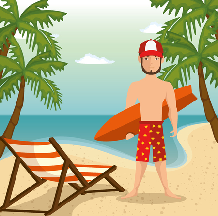 Man holding a surf board over beach landscape background with foldable chair and palm trees. Vector illustration.