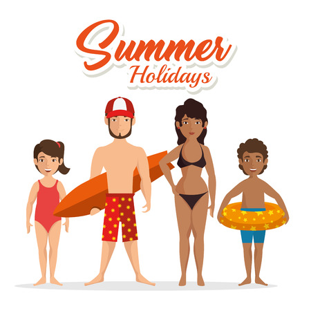Family in swimsuit with summer holidays sign over white background. Vector illustration.