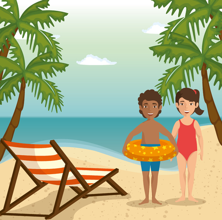 kids in swimsuit and foldable chair over beach landscape background with palm trees. Vector illustration.