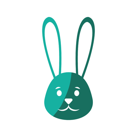 cute easter bunny face icon over white background. colorful design. vector illustration