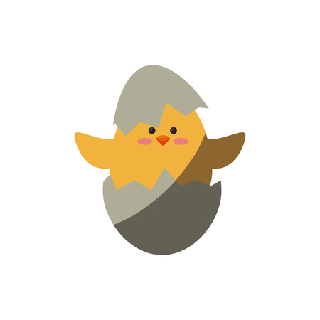 cute chicken in a eggshells icon over white background. colorful design. vector illustration
