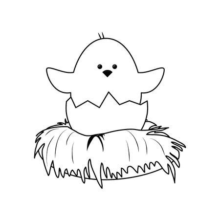 白い背景上の巣アイコンかわいいチキン。ベクトル図  イラスト・ベクター素材