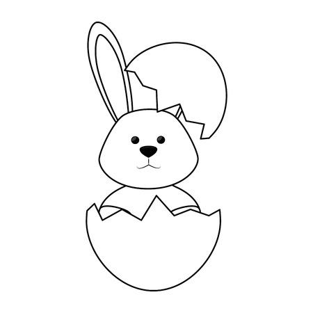 eggshell with cute bunny icon over white background. vector illustration Ilustração