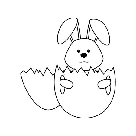 白い背景上のかわいいうさぎアイコンと卵殻。ベクトル図