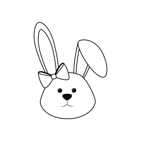 cute easter bunny face icon over white background. vector illustration