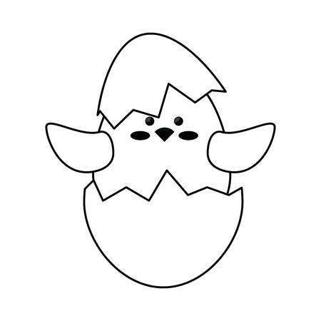 白い背景の上の卵の殻のアイコンかわいいチキン。ベクトル図  イラスト・ベクター素材