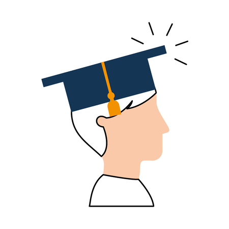 学生卒業分離アイコン ベクトル イラスト デザイン