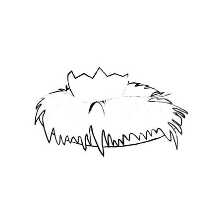 Bird nest icon over white background. Vector illustration. Illustration