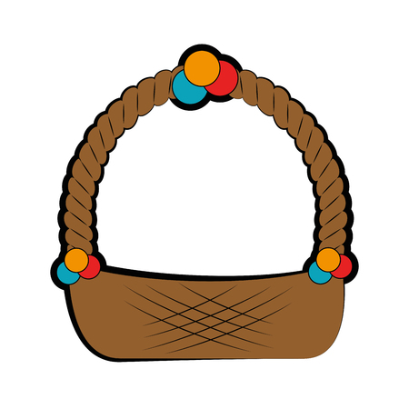 easter basket icon over white background. vector illustration