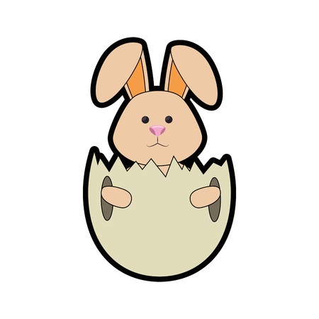 eggshell with cute bunny icon over white background. happy easter concept. colorful design. vector illustration