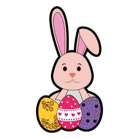 cute bunny with easter eggs icon over white background. colorful design. vector illustration