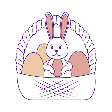 cute bunny with basket with easter eggs icon over white background. colorful design. vector illustration